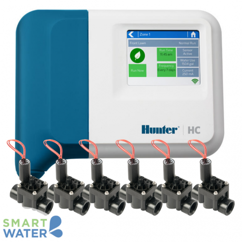 Hunter Hydrawise: HC I/D Controller & PGV F/C Solenoid Valves (6 Zone)