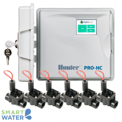 Hunter Hydrawise: Pro-HC O/D Controller & PGV F/C Solenoid Valves (6 Zone)