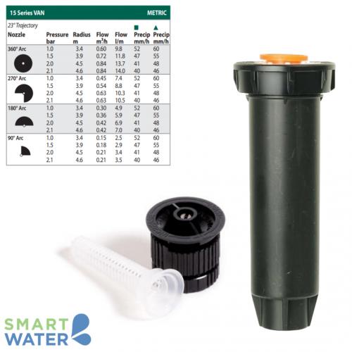 Rain Bird: 1804 100mm Pop-Up and VAN Nozzle Kit (15VAN | 3.7 – 4.6m)
