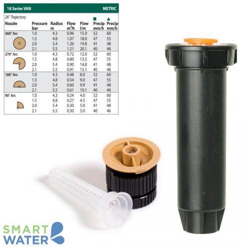Rain Bird: 1804 100mm Pop-Up and VAN Nozzle Kit (18VAN | 4.3 – 5.5m)